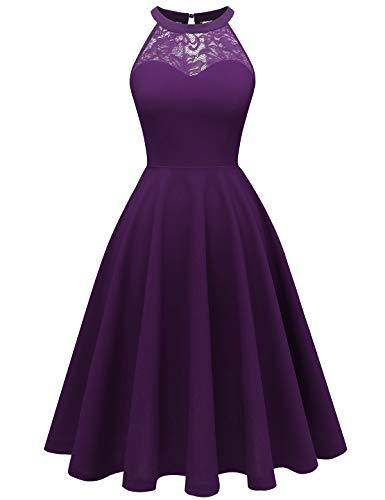 Bbonlinedress Damen Cocktailkleidkleid Abendkleider Rockabilly Retro Vintage Neckholder Grape XS