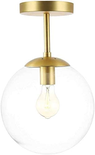 Bagood Globe Semi Flush Mount Ceiling Light Clear Glass with Brass Finish Contemporary Mid Century product image