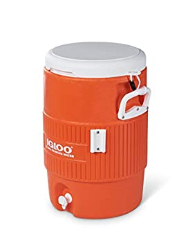 Igloo 5 Gallon Portable Sports Cooler Water Beverage Dispenser with Flat Seat Lid Bright Orange