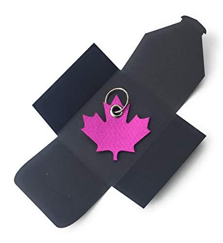 Schlüsselanhänger Ahornblatt (pink) aus Filz - als besonderes Geschenk verpackt