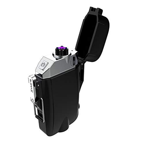 プラズマライター USB充電式 懐中電灯 羅針盤 コンパス付き 小型 IP65級防塵 防水 防風 無火炎 軽量 登山 キャンプ サイクリング ハイキング 防災 夜釣りなどのアウトドアジムに最適 誕生日 祝日 プレゼント アウトドアギフト