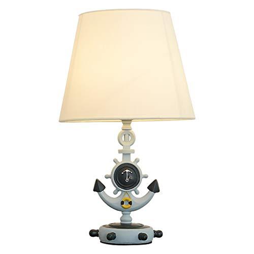 Lámpara de Mesita de Noche Lámpara de mesa de dormitorio Lámpara de mesilla Lámpara de mesa decorativa mediterránea Lámpara de mesa for niños pequeños Base de timón Pantalla de cono blanco Lámpara de