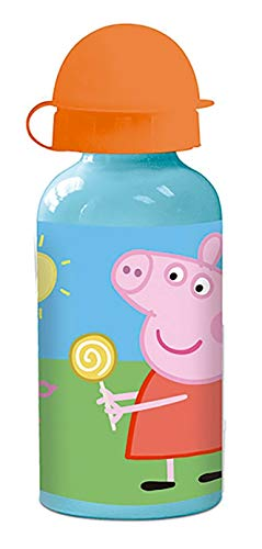 ML Botella de Agua de Aluminio para niños y niñas Peppa Pig, 0.4 L cantimplora térmica a Prueba de Fugas sin BPA para Levar a la Escuela y Deportes el Termo 400