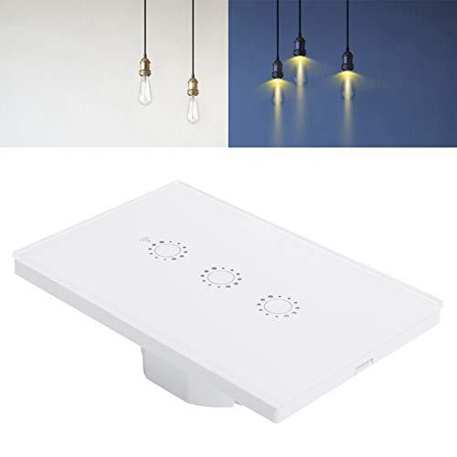 Interruptor táctil de Pared, Interruptor de luz Inteligente, Interruptor táctil, Equipo de iluminación para Casas Electrodomésticos Electrodomésticos(White Three-Way (2030996), Transl)