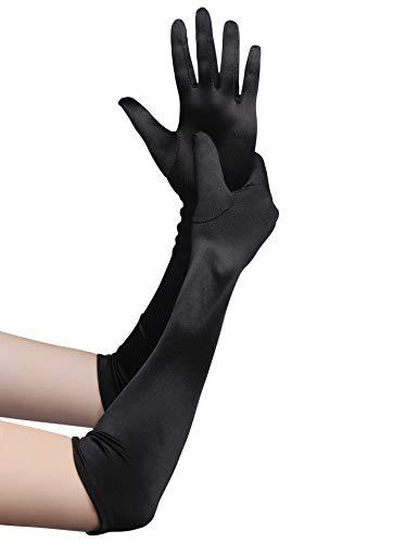 Babeyond Damen Handschuhe Satin Classic Opera Fest Party Audrey Hepburn Handschuhe 1920er Stil Handschuhe Elastisch Erwachsene Größe Ellenbogen bis Handgelenk Länge 52/55cm (Lang Glatt 52cm / Schwarz)