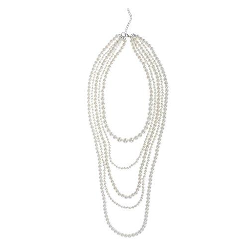 Milageto Charm Lady Collar de Perlas de Múltiples Capas Collar Llamativo Joyería Nupcial