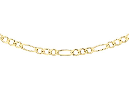 Carissima Gold Women's 9 ct Yellow Gold Hollow 2.5 mm Figaro Chain Necklace of Length 51 cm/20 Inch