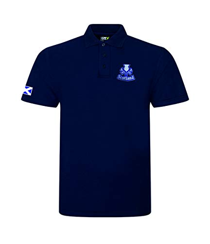 Super Lemon Scotland Scottish Adults Rugby Exclusive Retro Vintage Mens Womens Unisex White Polo Shirt, Great for Any Scottish Rugby Fans for 6 Nations and World Cup Available Upto 7XL (3XL)