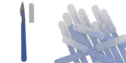 10x Einwegskalpell Klinge Figur 23, Kosmetex Einmal Skalpelle, mit Schutzkappe, einzeln steril verpackt, Figur 23