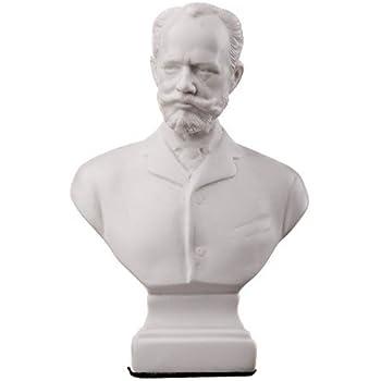 danila-souvenirs Russian Composer Pyotr Tchaikovsky Marble Bust Statue Sculpture 5.1'' White