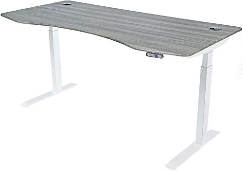 """ApexDesk Elite Series 71"""" W Electric Height Adjustable Standing Desk (Memory Controller, 71"""" Gray Top, Off-White Frame)"""