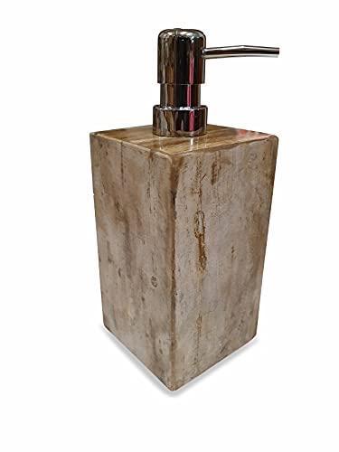 Dispensador de jabón de piedra natural, dispensador de desinfección de madera fósiles, dispensador de crema de madera fosilizada (variante 3)