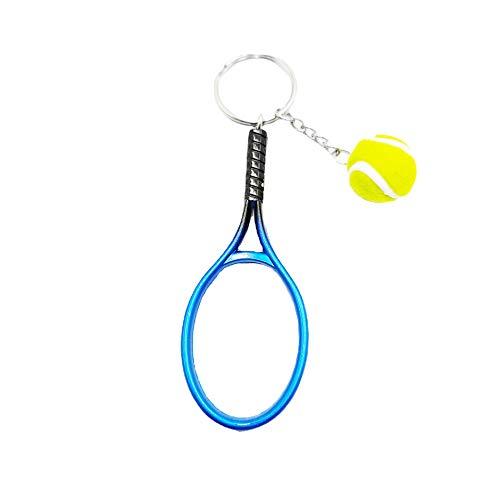 Raqueta de tenis modelo de dos piezas traje atleta coche llavero mochila llavero colgante creativo regalo azul