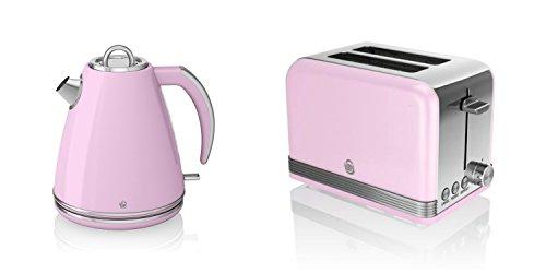 New Swan - Set di elettrodomestici da cucina, stile retrò, 1,5 l, colore: Rosa