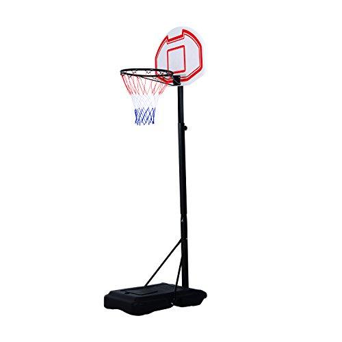HOMCOM Canestro da Basket da Esterno con Supporto e Altezza Regolabile in Acciaio 73 × 49 × 190-250 cm