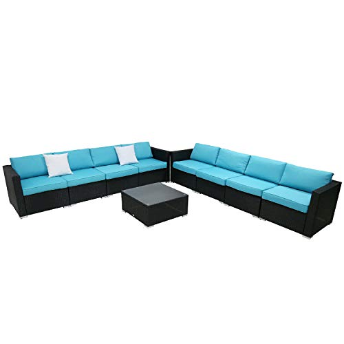 9PC Outdoor Sectional Sofa Set Rattan Wicker Patio Furniture Sofas with Washable Cushions & Modern Glass Coffee Table