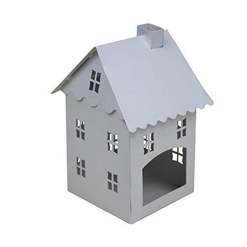 Depory Portacandela a forma di casa, con design dotato di incavo, in ferro, vintage, ideale come decorazione per il tavolo, 8cm x 8 cmx 15cm, colore bianco, confezione da 1 pezzo