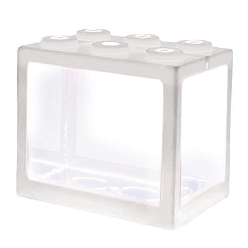 Nobranded Pecera, Pequeña Caja de Peces Betta para Acuario con Iluminación para Medusas, Peces de Colores, Camarones, Bolas de Musgo, Insectos, Tortugas, R - Blanco
