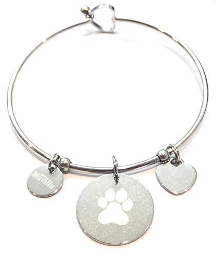 pulsera de mujer de acero Plata con símbolo Perro � Acero emozionale–frase, pensamientos,...