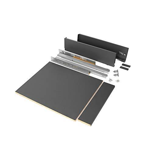 Emuca - Kit de cajón para cocina o baño con tableros incluidos y guias de extracción total con cierre suave, altura 93 mm para módulo 450 mm y profundidad 500 mm, Gris Antracita