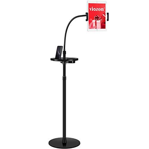 Viozon Gooseneck Tablet Floor Stand with a Portable Tray for 4.5-10 inch Smart Phones Tablet PCs, iPhone X,iPad, iPad Mini, iPad Air,New iPad Pro(9.7inch), Galaxy, Nexus