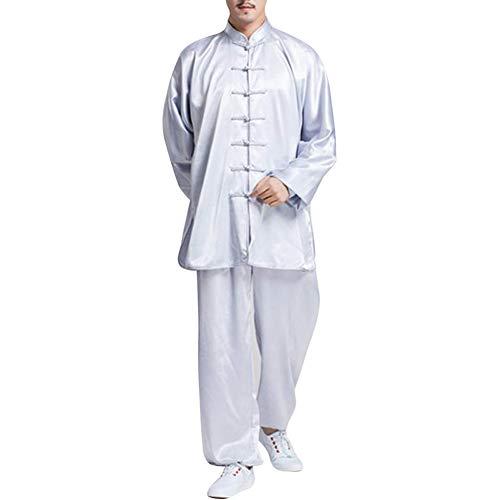 Boenxuan Unisex Tang Trajes del Kung Fu Artes Marciales Uniformes para Escalada Artes Marciales clásicas Practicar Taichi Prendas de Vestir para Hombres, Mujeres,Blanco,S