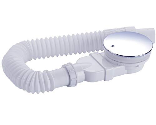 IMPTS extraflache ablaufgarnitur dusche 90mm, Abfluss Ablaufloch set für Duschwanne, Duschablauf Siphon mit Geruchsstop, Haarsieb, Flexschlauch