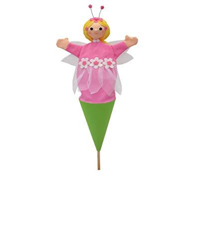 MU Brno - Hada de flores rosa, marionetas de mano 3 en 1, 57 cm.