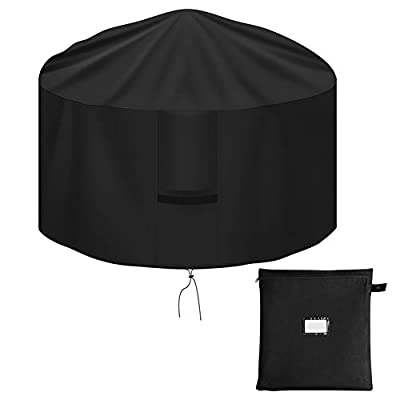 OKPOW Fire Pit Cover 112cm,Firepit Covers Waterproof Round-600D,Anti-UV,Heavy Duty Rip Proof Oxford Fabric Firepit Cover,Round Fire Pit Covers- Black(112 * 60cm) by OKPOW