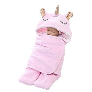 Wetry Saco de Dormir Unicornio Recién Nacido Manta Envolvente Arrullo Bebe Invierno Swaddle Wrap Bebe Manta Cálida de Unicornio de Felpa con Capucha para 0-6 Meses, Rosa (Cuernos Dorados)