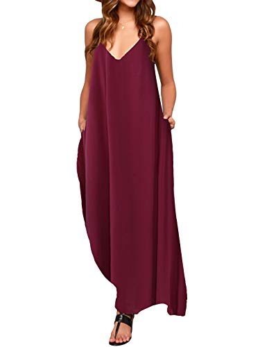 ACHIOOWA Mujer Vestido Elegante Playa Casual Dress Cuello V Sin Manga Túnica Sin Hombros Escote Punto Bolsillo Caftán Oversize Falda Larga Rojo-Vino XL