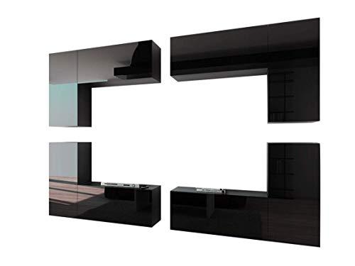 Home Direct Future 20 Schwarz Modernes Wohnzimmer Wohnwand Wohnschrank Schrankwand Möbel Mediawand C20_HG_B_1 1A (Front: Schwarz Hochglanz/Korus Schwarz Matt, Led RGB (16 Farben))