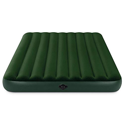 NAKSHOP Blow Up Queen Size Mattress Airbed with Ρump for Camping Bed Comfort Daybed Lightweight Travel Flocked Top Best Rest Raised Waterproof Home Floor Rv Deluxe Folding and eBook