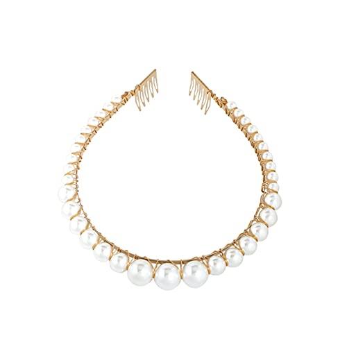 YiYue Diadema de perlas hechas a mano para mujer, elegante, color blanco, perla completa, con corona de novia, diadema para decoración de boda (color metálico: 6)