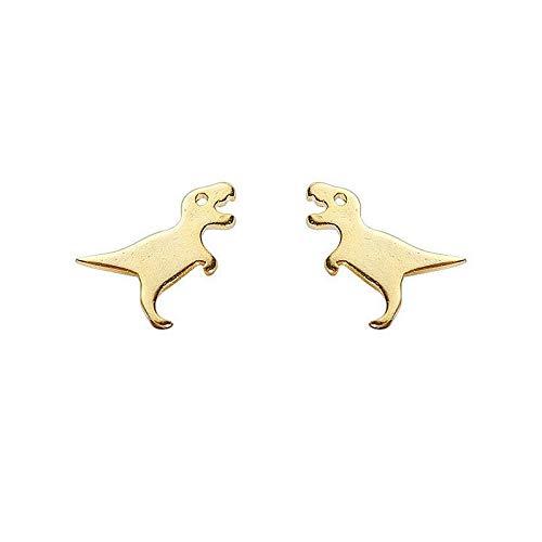 Richight シンプルな純銀製かわいい小さな恐竜スタッドピアス、sv925ゴールド可愛らしいミニ動物ピアス、レディース/メンズアクセサリー 耳飾りイヤリング、さわやか森ガールっぽいイヤリング