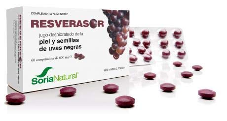 Soria Natural Resverasor - 60 Cápsulas complemento alimenticio con elevada capacidad antioxidante y antienvejecimiento vegetal obtenido a partir de la piel y semillas de uvas negras
