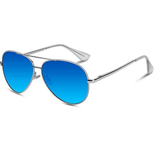 VVA Gafas de sol Hombre Polarizadas Aviador Hombres Aviador Gafas de sol Polarizadas Hombre Unisex Protección UV400 por V101(Azul/Plateado)