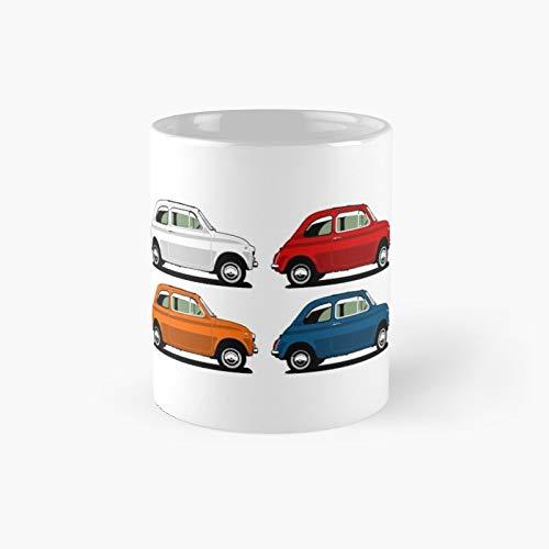 Fiat 500 Side View Classic Taza de café divertido 11 oz para mujeres y hombres
