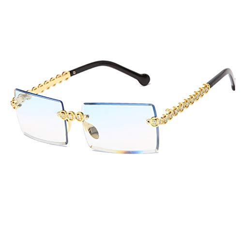 Long Keeper Occhiali da Sole da Donna Anti-UV400 Occhiali da sole Rettangolari Senza Montatura in Metallo Cornice Quadrata con Strass (Blu Sfumato)