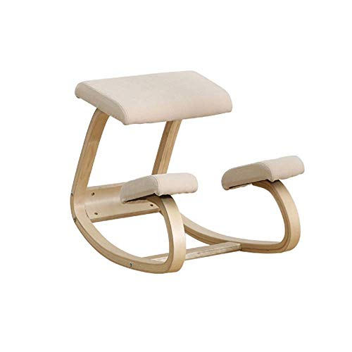 XIAOWEI Posture correction chair knee chair ergonomic knee chair made of wood |Reduces back pain and improves posture Lighter professional orthopedic knee stool (color: Burgundy),