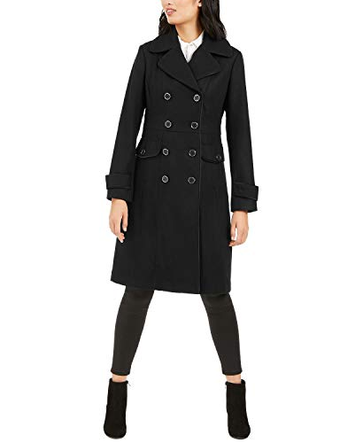 Kenneth Cole New York 17LMW279 Womens Double-Breasted Contrast-Piping Peacoat - Black - S