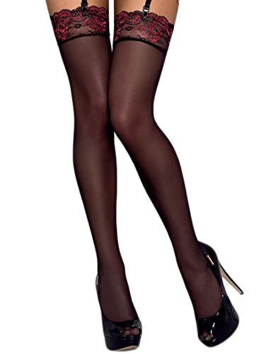 Selente Lovely Legs verführerische Damen Straps-Strümpfe mit edler Spitze, made in EU, schwarz-bordeaux, Gr. S/M