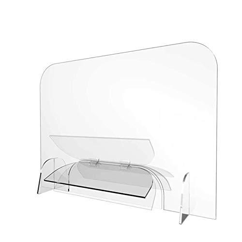 LYQCZ Spuckschutz Plexiglas Aus Acrylglasplatte - Spuckschutz Aus Acrylglas Mit Durchreiche, Glasklar Plexiglasscheibe Plexiglas Schutzwand Thekenaufsatz(60x100)