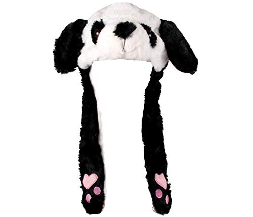 Alsino Panda Mütze mit beweglichen Ohren Karneval Fasching Cosplay Lustige Niedliche Tiermütze Wackelohren Plüsch Kostüm