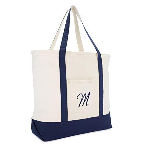 DALIX Monogram Tote Bag Personalized Initial Navy Blue -M