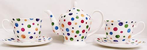 Rainbow Decors Ltd Polka Dot Theeset voor twee fijne botten China Multi kleur Spotty 1 theepot 2 kopjes & 2 schotel