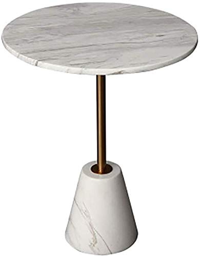 Mesa de centro con té de mármol, sala de estar creativa Hierro forjado Hierro de oro Mesa redonda Decoración del hotel Sofá mesa,40x60cm