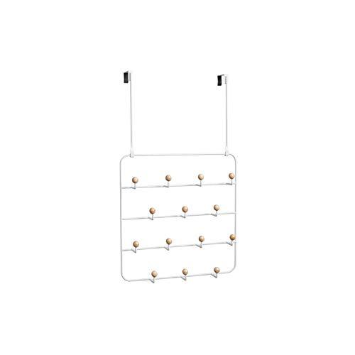 14 Haken Garderobe Wandgarderobe Vertikaler Haken über Türgarderobe, weiß 36,6x40,2 cm / 14,4x15,8 Zoll Wandgarderobe