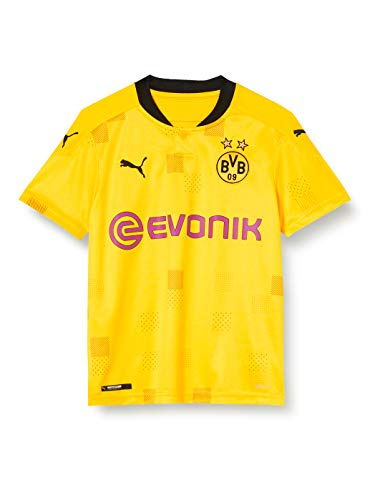 PUMA Jungen BVB Cup Shirt Replica SS Jr with Evonik w/o Opel T, Cyber Yellow Black, 140