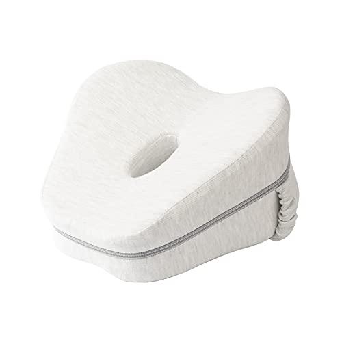 Sagreeny Kniekissen Für Seitenschläfer mit Band, Ergonomisches Seitenschläferkissen aus Memory Foam (Weiß)